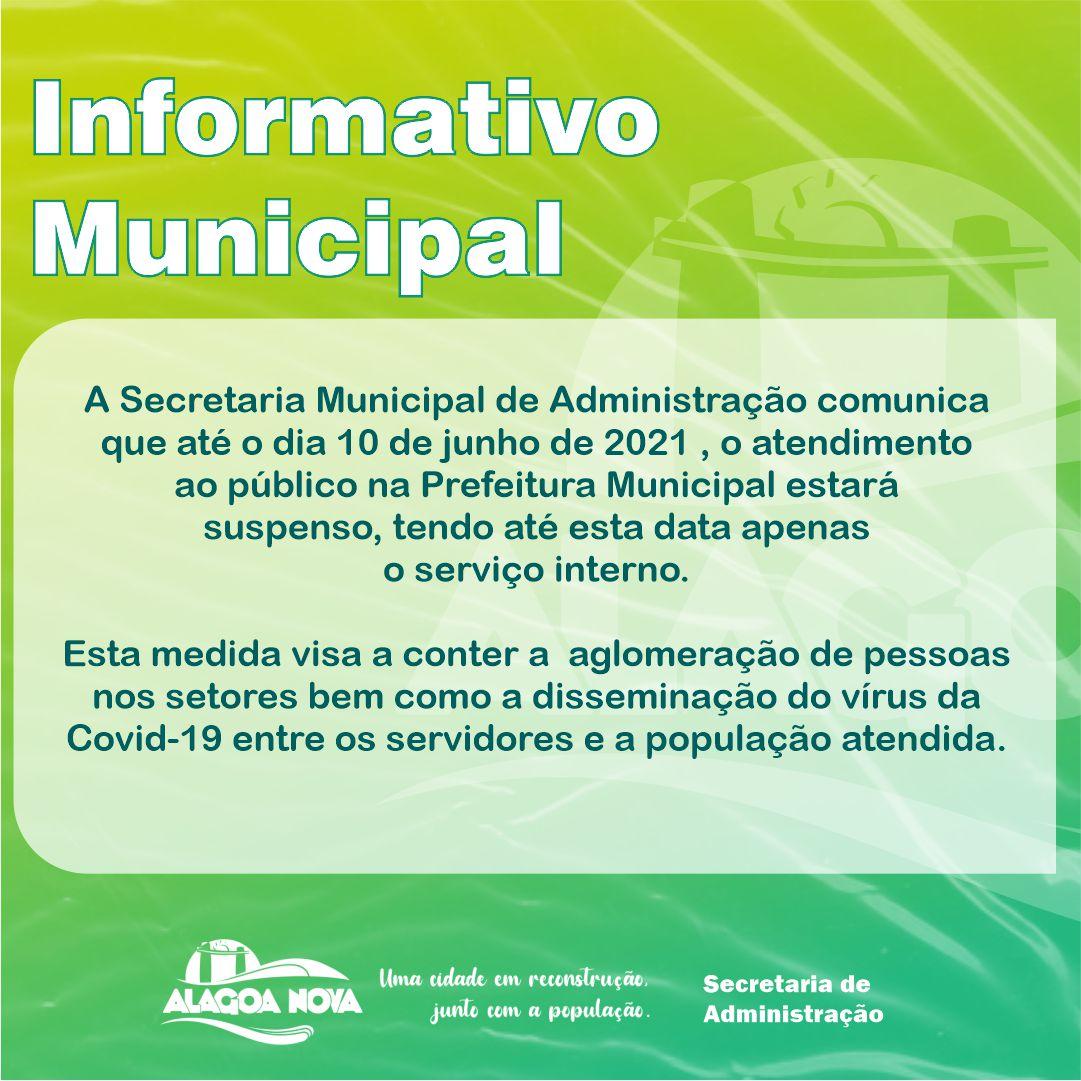 Informativo Municipal sobre a suspensão do atendimento ao público
